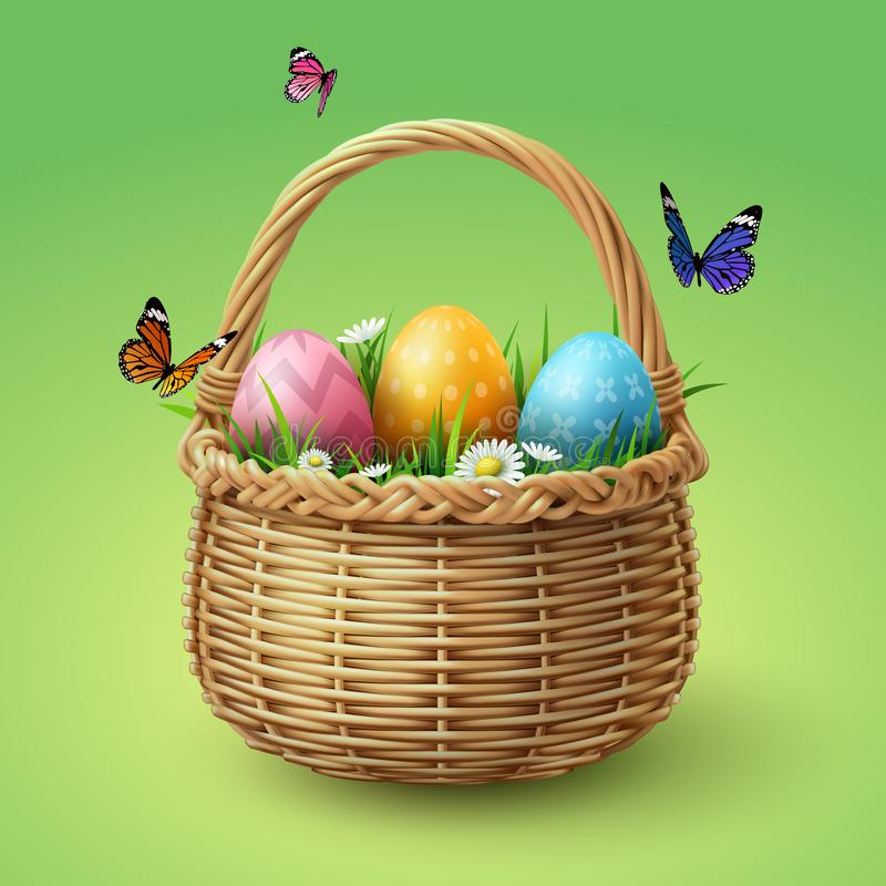 Happy Easter, colorful eggs in basket with butterfly and grass stock photography