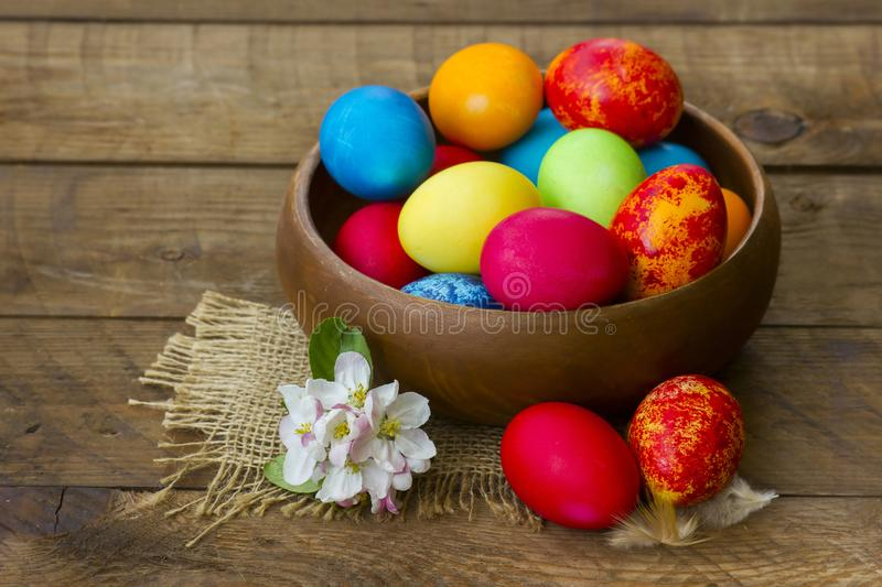 Happy Easter, colorful eggs stock images