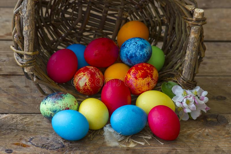 Happy Easter, colorful eggs royalty free stock photos