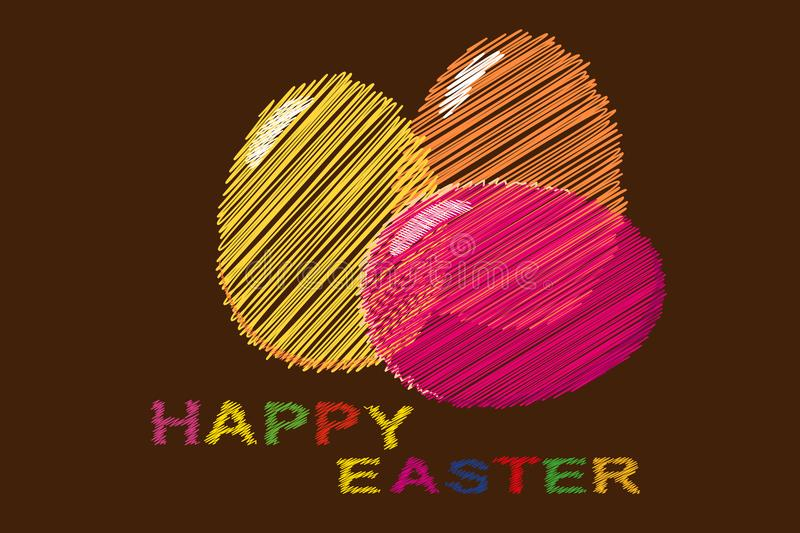 Happy Easter. Colorful embroidery on fabric. Vector stock illustration