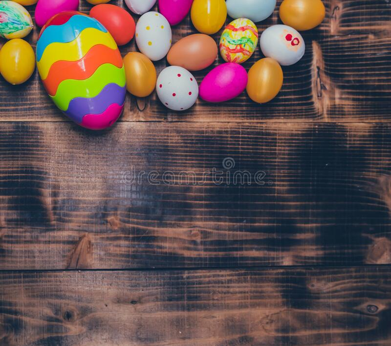 Happy Easter. Colorful painting eggs for celebrate in April. Preparing and painting for family celebrate. And home decoration royalty free stock photography