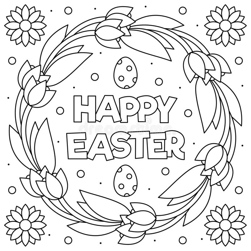 Happy Easter Coloring Page Wreath Vector Illustration Stock Vector Illustration Of Adult Wreath 140722847