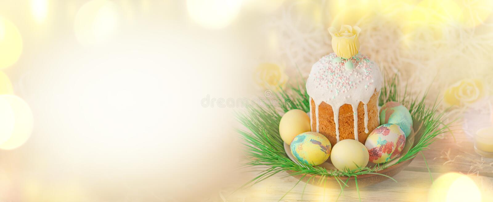 Spring flower banner background with Easter eggs. Easter holiday creative background. stock photo