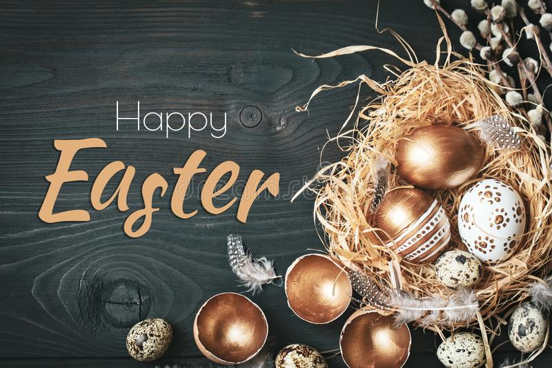 Happy Easter. Congratulatory easter background. Easter eggs and flowers. Selective focus. stock photos