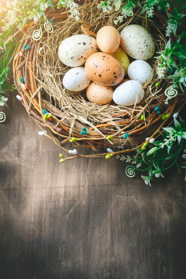 Download Happy Easter. Congratulatory Easter Background. Easter Eggs And Flowers. Stock Photo - Image of decoupage, pink: 107128386