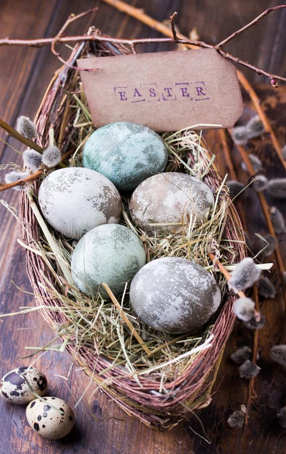Happy Easter. Congratulatory easter decoration. Easter Eggs in nest. stock image