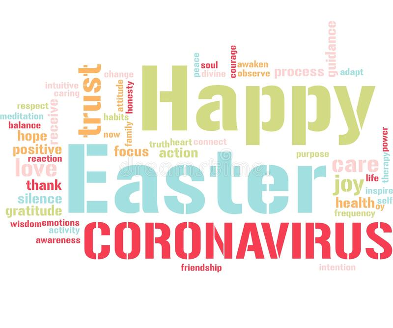 Happy easter during coronavirus. Time with positive words learning hope vector illustration