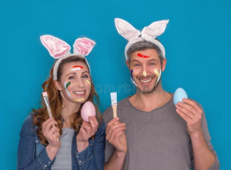 Happy easter couple royalty free stock image