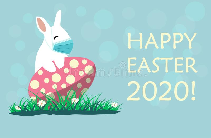 happy easter covid bunny duck wearing face masks against giving foot shake greeting card coronavirus alert 175720528