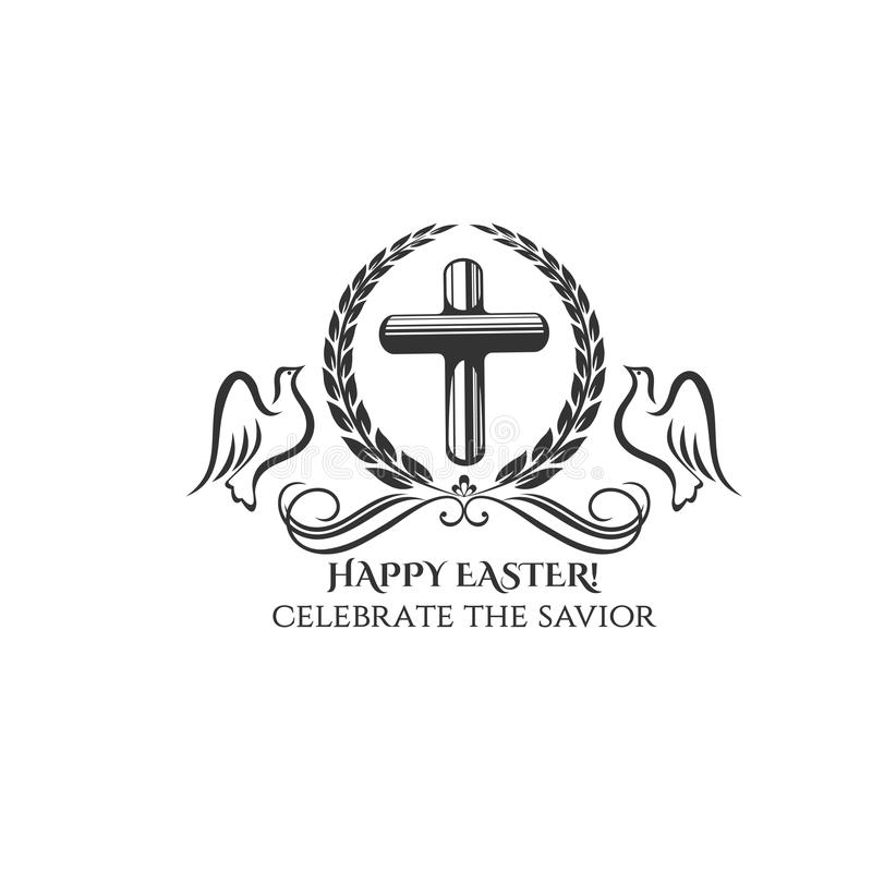 Happy Easter Cross And Doves Vector Icon Stock Vector Illustration
