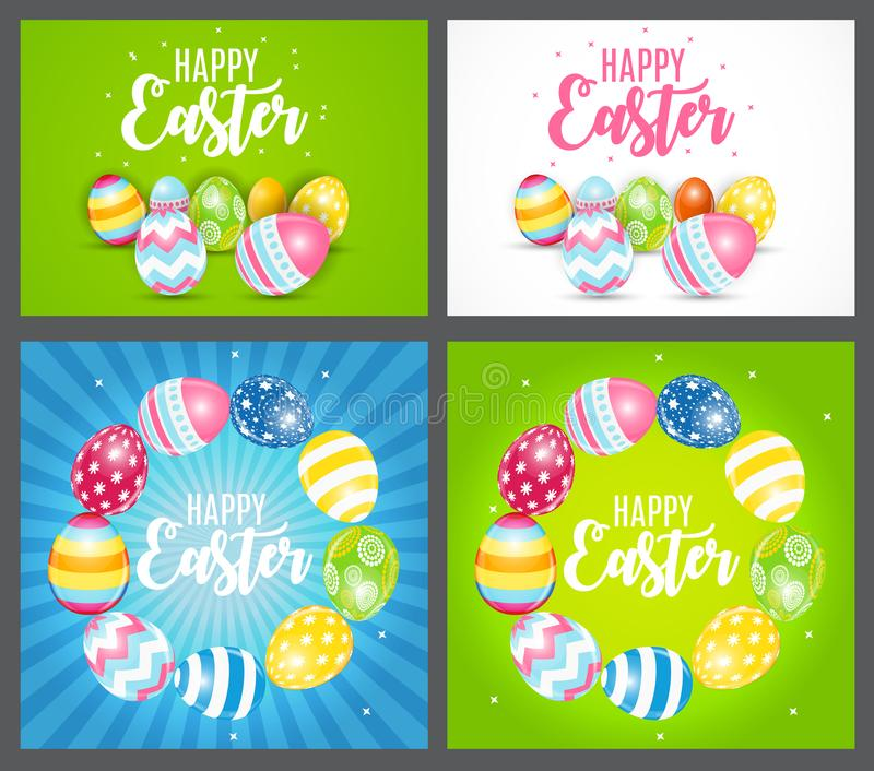 Happy Easter Cute Background with Eggs. Collection Set Cards. Vector Illustration. EPS10 stock illustration