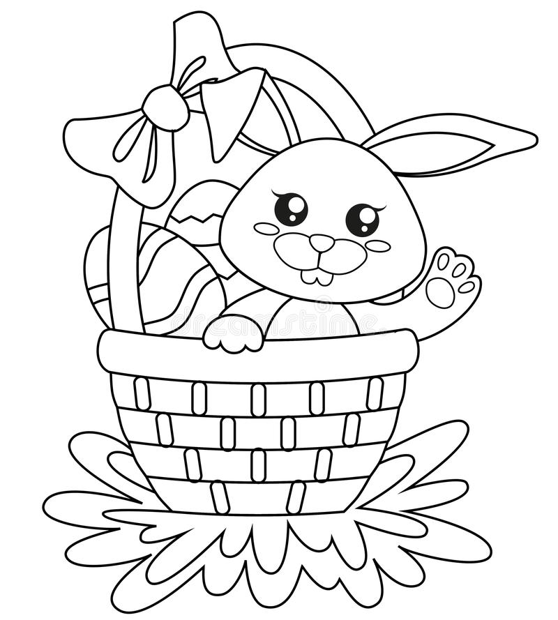 Happy Easter. Cute bunny sitting in basket with eggs. Black and white vector illustration for coloring book vector illustration