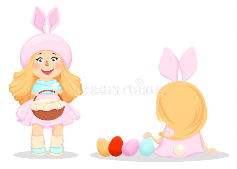Happy Easter. Cute girl in a costume of rabbit royalty free illustration
