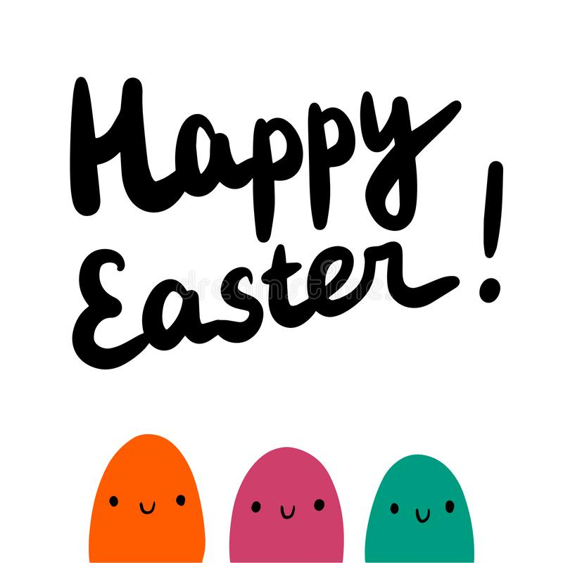 Happy easter cute hand drawn illustration with family of eggs vector illustration