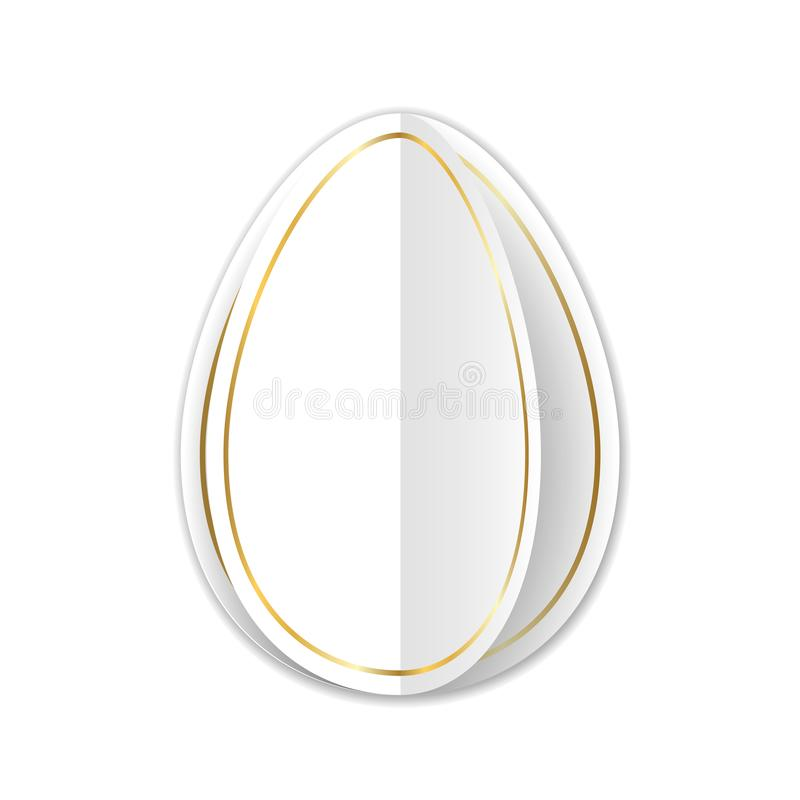 Happy Easter 3D card, turn page egg. Gold decoration paper frame. Greeting template for Easter. Border pattern, empty. Copy space. Holiday design for poster stock illustration