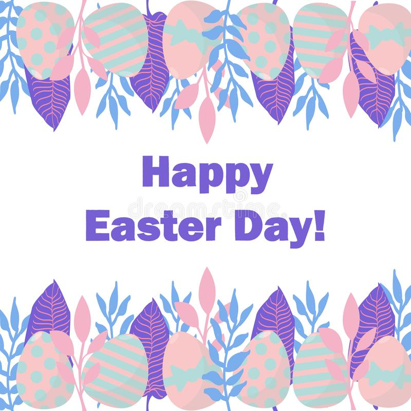 Happy easter day card. Nice vector illustration with leaves and eggs frame vector illustration