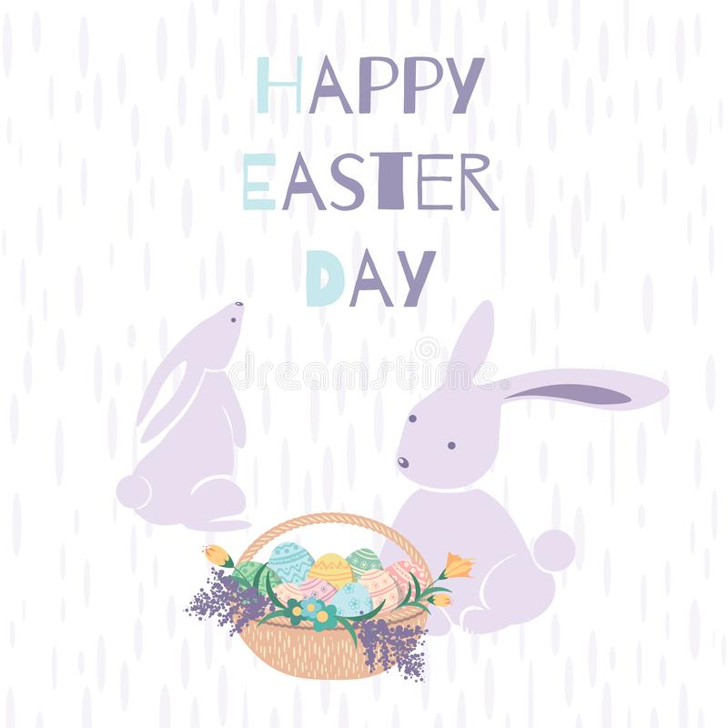 Happy Easter day card with two maroon bunnies and a basket royalty free illustration