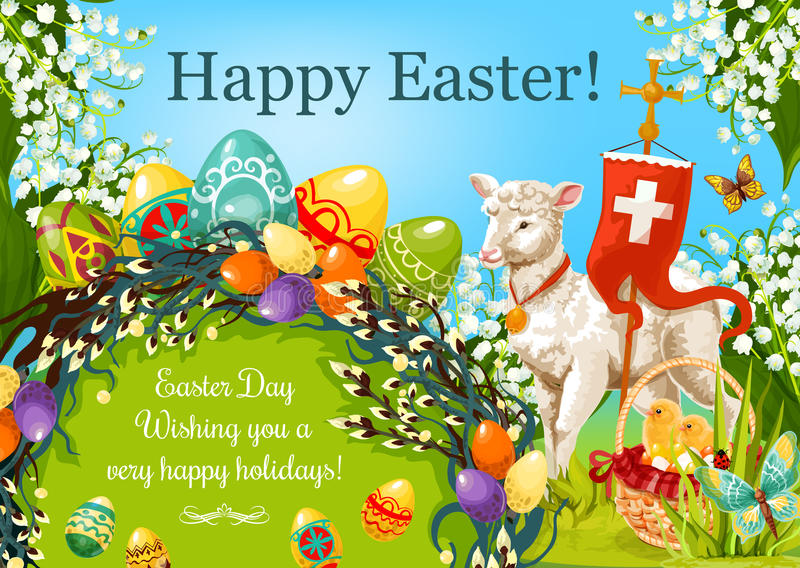 Happy Easter Day Cartoon Greeting Poster Design Stock