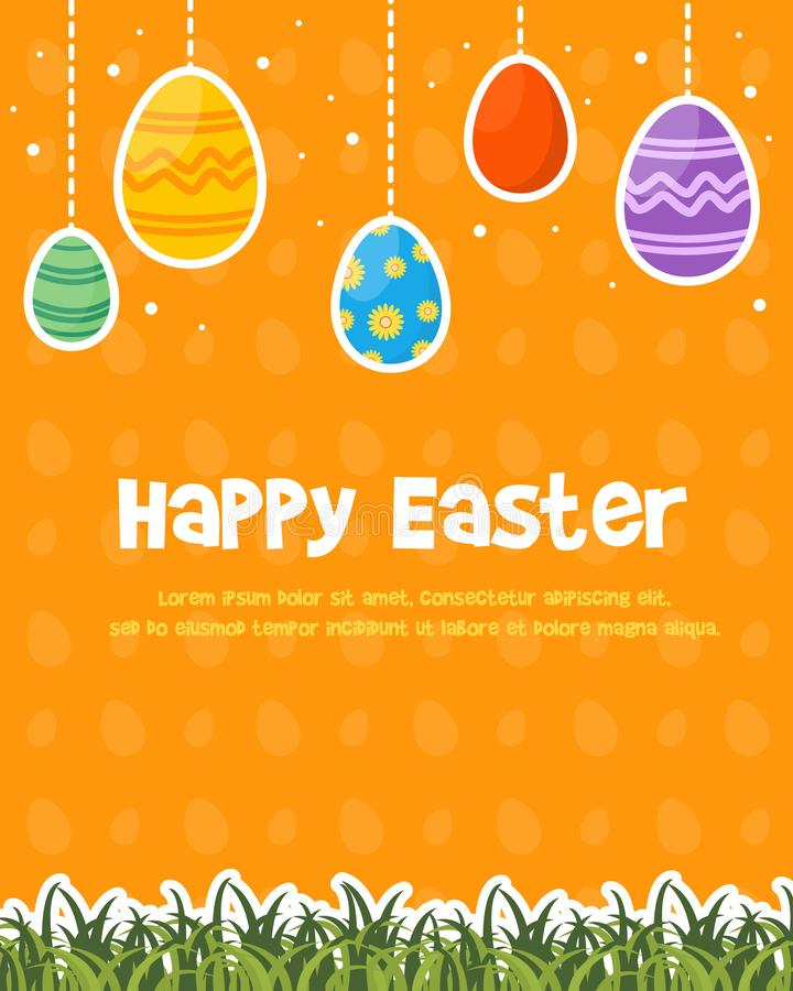 Happy easter day celebration poster stock illustration