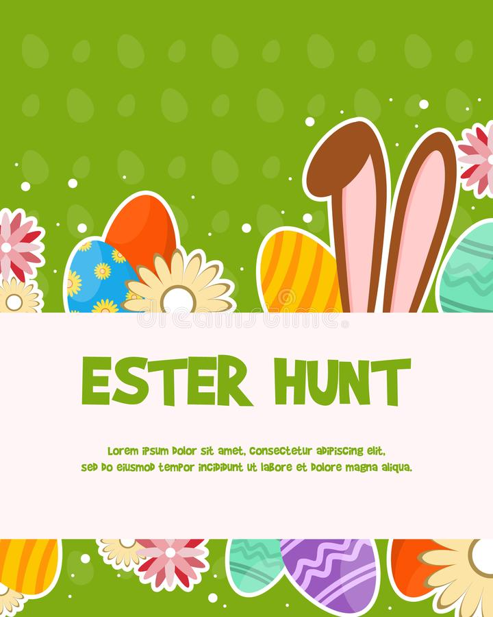 Happy easter day celebration poster vector illustration