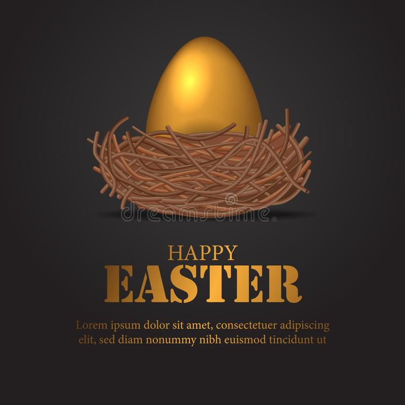 Happy Easter day with 3D realistic shiny decorative egg with bird nest on the black background stock illustration