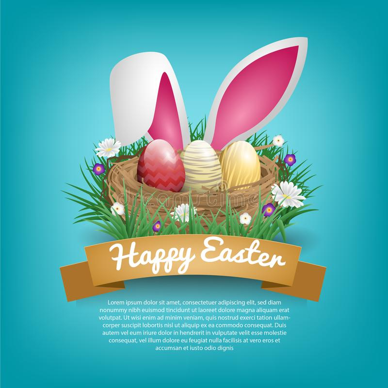 Happy easter day greeting cards with bird nest and rabbit ear royalty free illustration