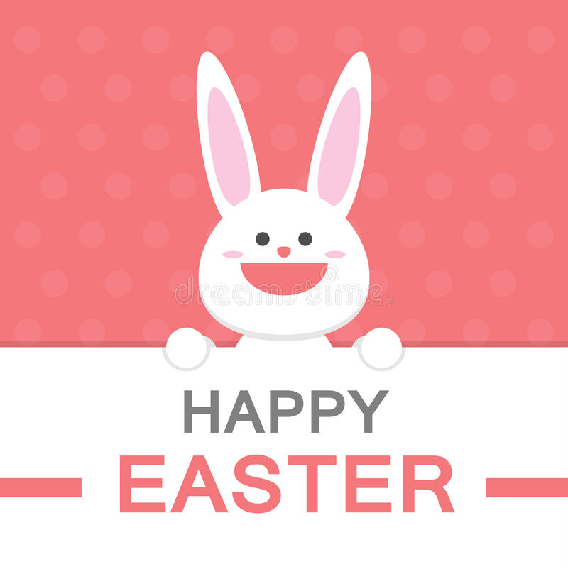 Happy Easter Day Smile Bunny Cartoon Vector Greeting Card Template