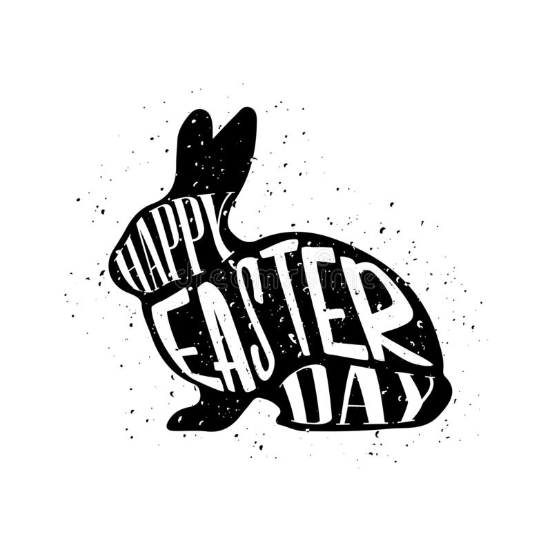 Happy Easter day. Text inside bunny silhouette. Vector royalty free stock photos
