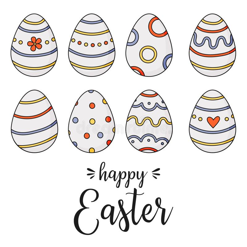 Happy Easter Doodle easter eggs royalty free stock photography