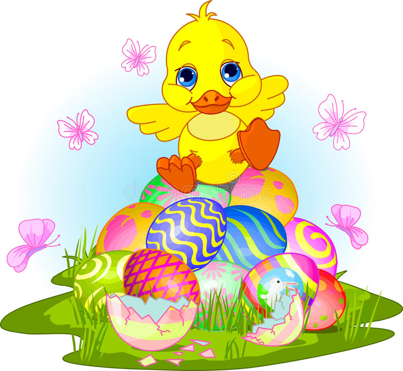 Happy Easter duckling stock illustration