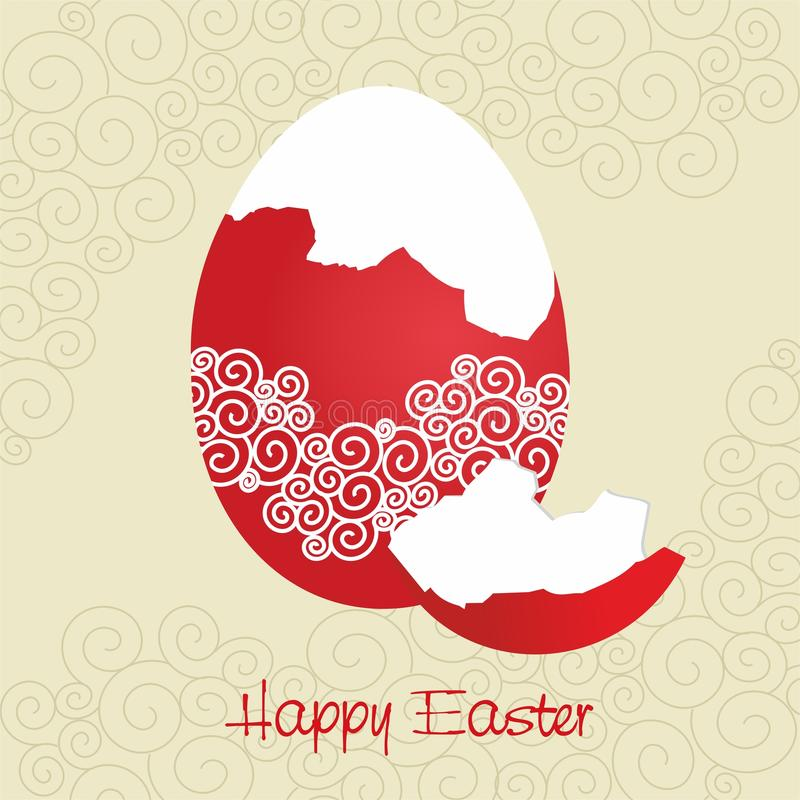 Red broken egg decorated - Easter card - vector. Decorated Easter egg partially peeled and the words Happy Easter. The vector version can be scaled to any size royalty free illustration