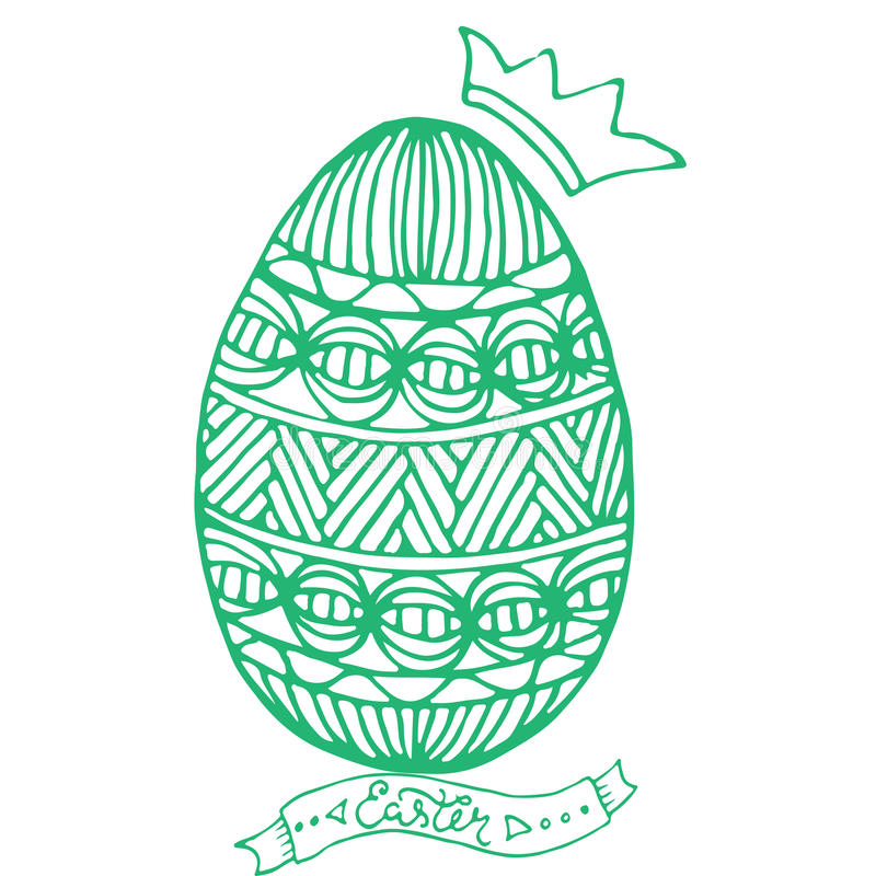 Download Happy Easter Egg For Greeting Card Doodle Style Coloring Page Hand Drawn