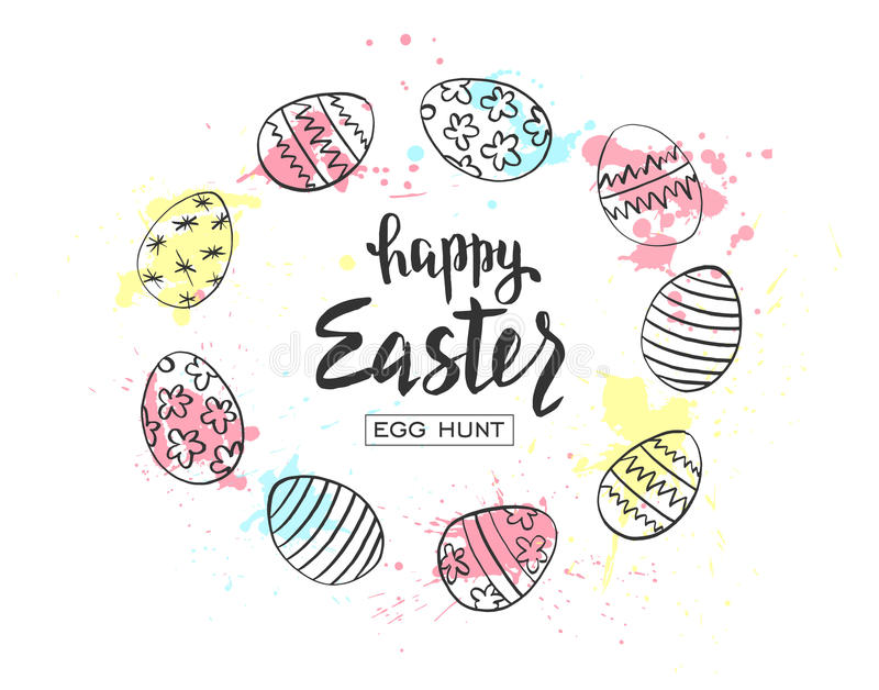Happy Easter egg hunt illustration. Holiday banner design with hand drawn eggs and watercolor blots.Hand drawn lettering royalty free illustration
