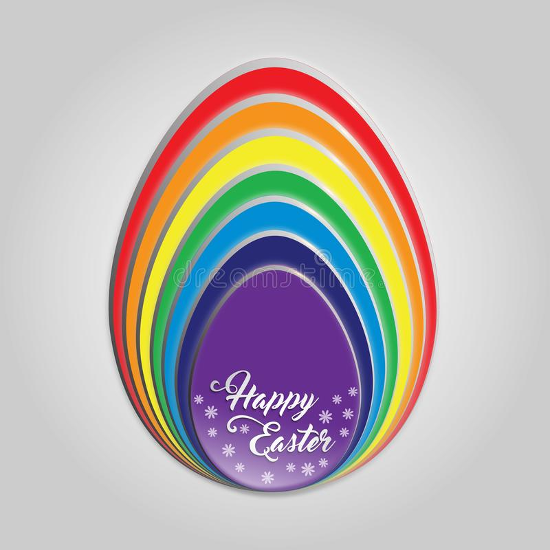 Happy Easter Egg Rainbow Card. Happy Easter egg rainbow color`s. Slices of egg stack on each other in rainbow color. Happy Easter words text hand writing font