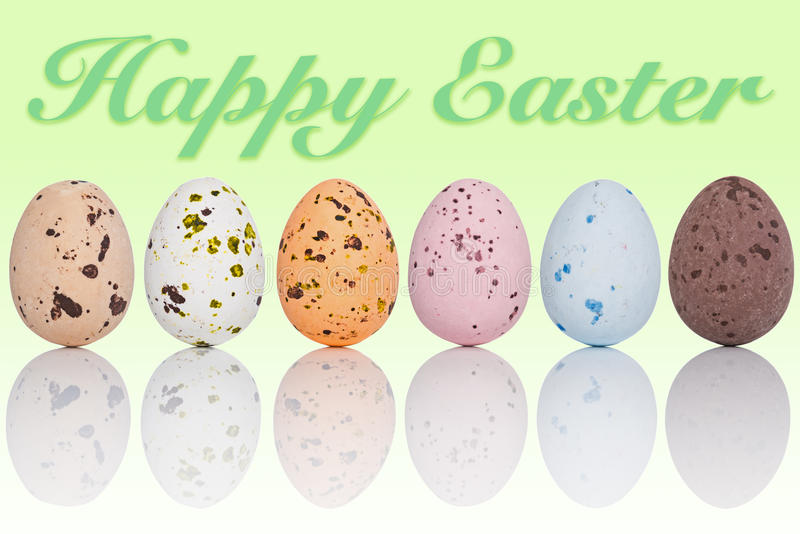 Happy Easter eggs in a line royalty free stock photo