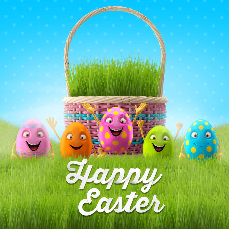 Free Happy Easter Eggs, Merry 3D Set, Spring Series, Happy Cartoon Objects, Easter Banner, Postcard Royalty Free Stock Images - 38358979