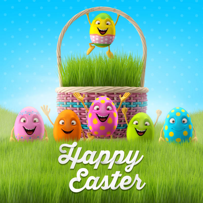 Free Happy Easter Eggs, Merry 3D Set, Spring Series, Happy Cartoon Objects, Easter Banner, Postcard Stock Photos - 38359083