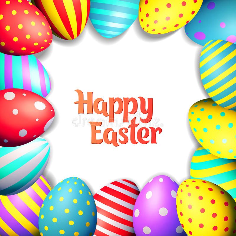 Happy Easter eggs and text on colored background with frame vector illustration royalty free illustration