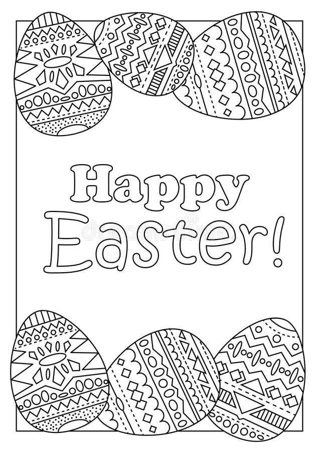 download happy easter eggs with tribal ornament coloring page for adults stock illustration illustration of