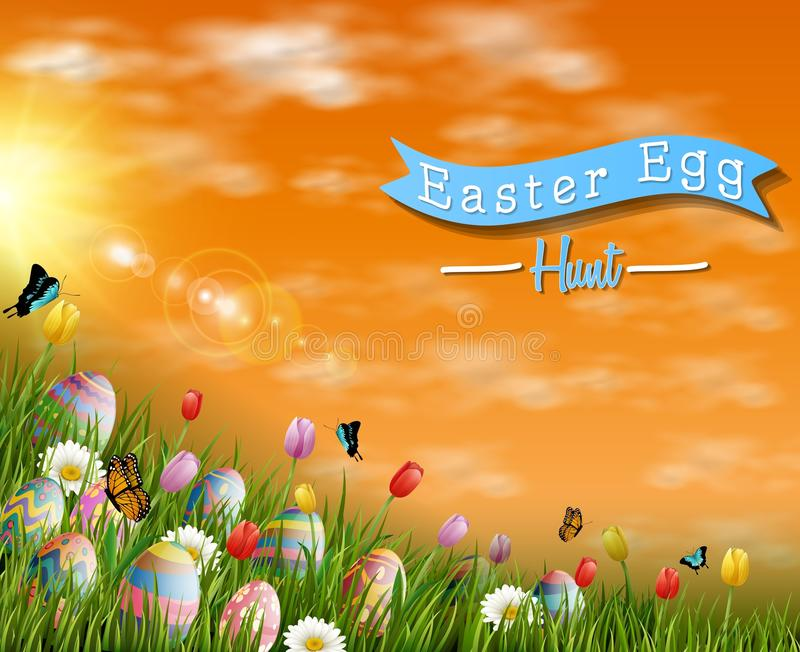 Happy easter eggs with tulip flowers and butterfly on meadow background stock illustration