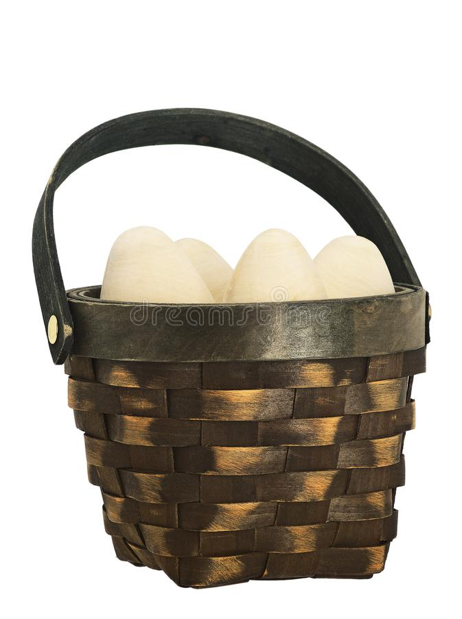 Easter eggs in a wicker basket. duck wicker. wooden egg. stock photo