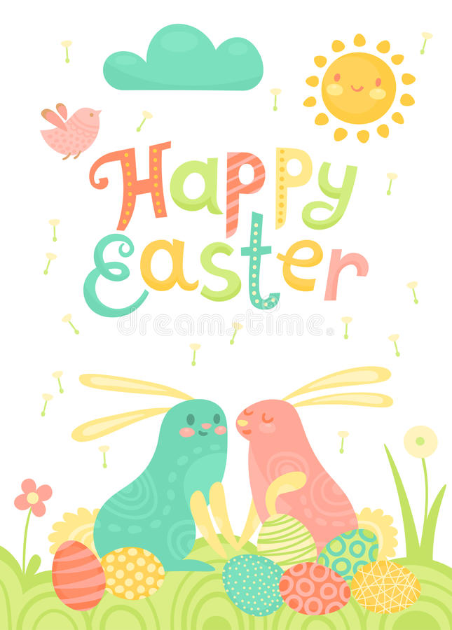 Happy Easter festive postcard with rabbits painted eggs on a meadow. vector illustration