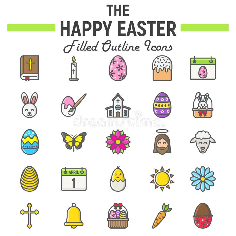 Happy Easter filled outline icon set, holiday sign stock illustration