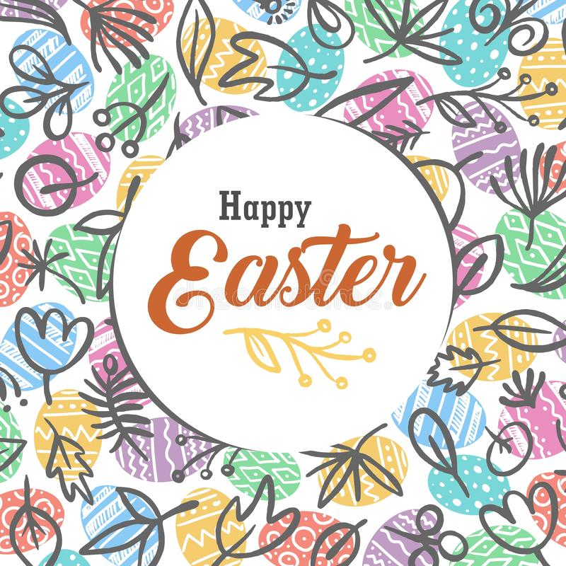 Happy Easter greetings card with colorful eggs and floral pattern background. Vector flat celebration illustration stock illustration