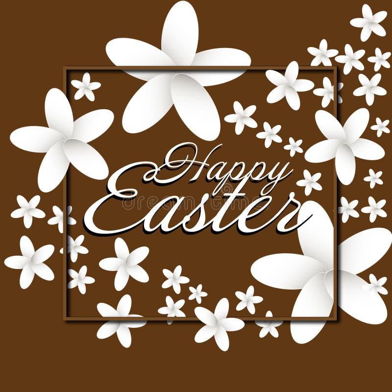 Happy Easter flowers frame vector illustration