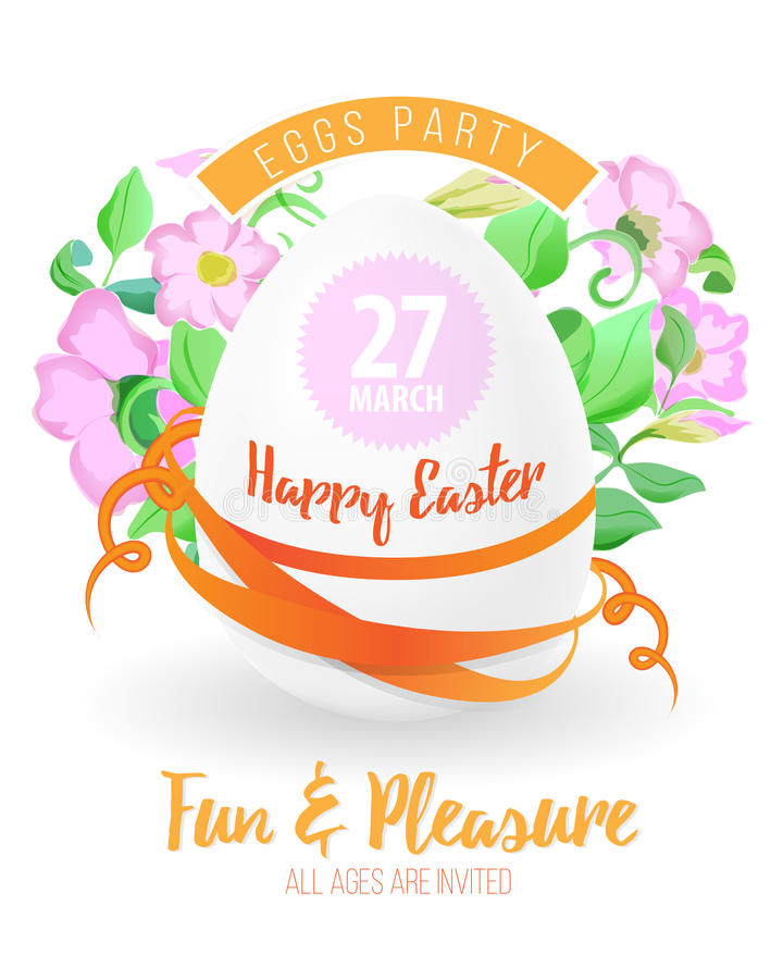 Happy easter flyer or poster background illustration with easter egg, flowers, ribbons and font. royalty free illustration