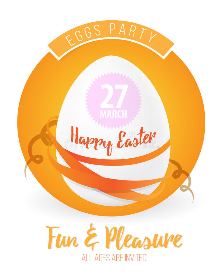 Happy easter flyer or poster background illustration with easter egg, ribbons and font. royalty free illustration