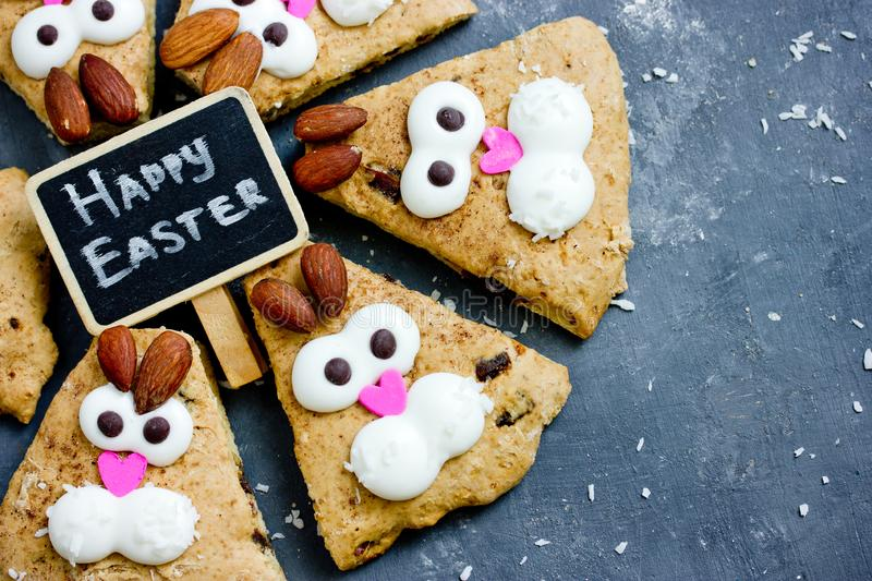 Happy Easter food idea for kid treats - funny bunny cookies royalty free stock photo