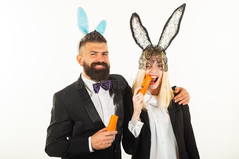 Happy easter and funny easter day. Bunny rabbit ears costume. Funny couple wearing bunny ears on Easter day. Happy easter and funny easter day. Bunny rabbit royalty free stock photos