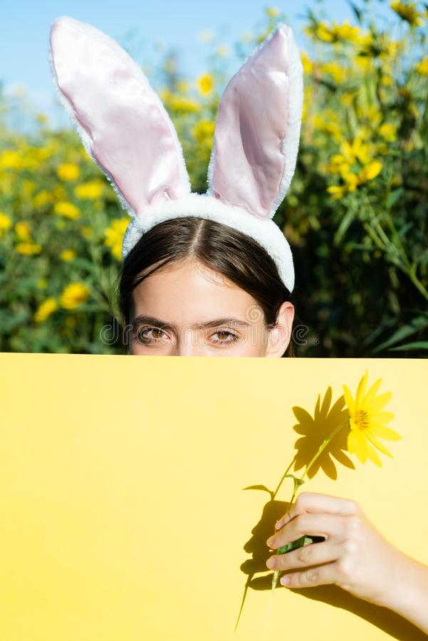 Happy easter and funny easter day. Bunny rabbit ears costume. Surprised bunny couple wearing bunny ears, copy space. Happy easter and funny easter day. Bunny royalty free stock photo
